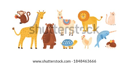 Set of funny childish scandinavian zoo animals isolated on white. Collection of cute domestic, wild, marine and forest animal characters. Vector illustration in flat cartoon style