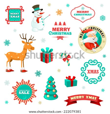 Set of funny christmas elements vector illustration for xmas set of funny christmas elements vector illustration for xmas greeting cards m4hsunfo