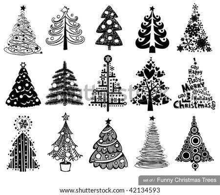 set of funny christmas trees