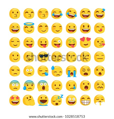 Set of funny classic emojis. Isolated Vector Illustration. Flat style - Shutterstock ID 1028518753