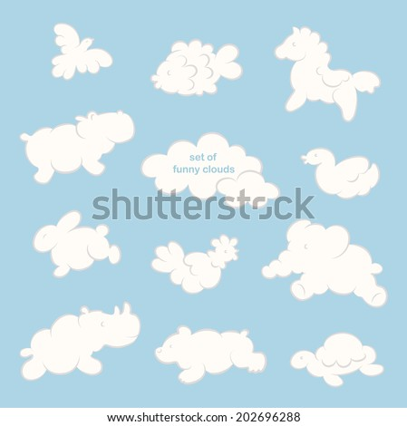set of funny clouds in the form ...