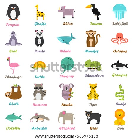 Set of funny color flat animals icons