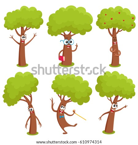 set of funny comic tree