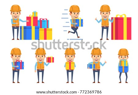 Set of funny construction worker characters posing wtih gift box. Cheerful worker celebrating birthday, holding present, running and showing other actions. Flat style vector illustration