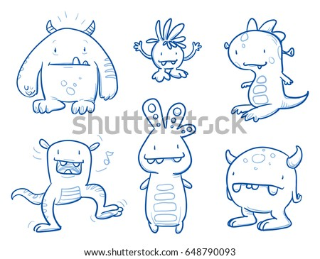 set of funny cool monsters