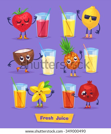 set of funny cute fruits and