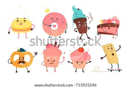 set of funny dessert characters