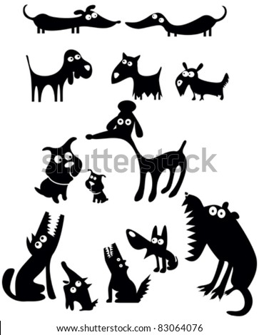 Set of funny dogs silhouettes
