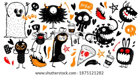 Set of funny doodles with monsters. Doodle monsters characters on white background. Monsters and ghosts hand draw style. Collection of monsters silhouettes. Vectro illustration