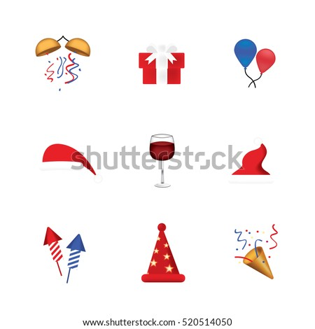 Set of funny emoticon vector isolated on white background. New Year theme. Santa Claus hat vector. Fun emoji. Set of christmas object.