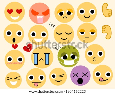 set of funny emoticons.Emoticon face character in sad, sick,hungry, angry and happy emotion isolated in white background.