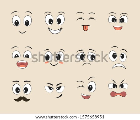 Set of funny faces. Cartoon faces with different expressions, featuring the eyes and mouth, design elements. Vector illustrations