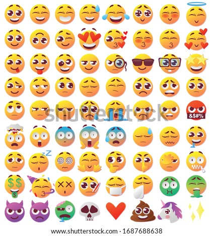 Set of funny faces with big eyes. Sad, crying, funny, suspicious, angry, smiling faces. Flat design 72 expressions of emotions Kawaii Emoji. Icons with a beautiful gradient.