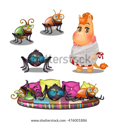 set of funny fantasy creatures