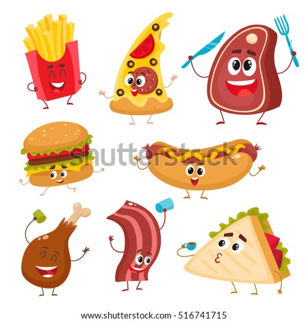 set of funny fast food