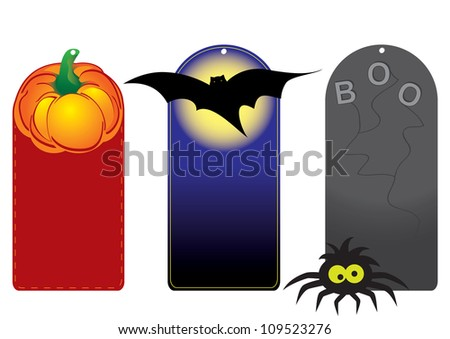 Set of funny halloween tags pumpkin, bat and spider