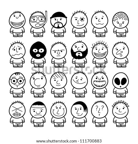 Set of funny hand drawn characters.