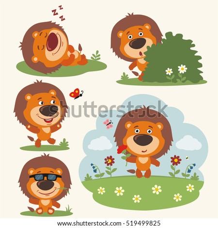 set of funny lion in different