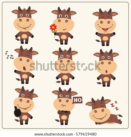 set of funny little cow in