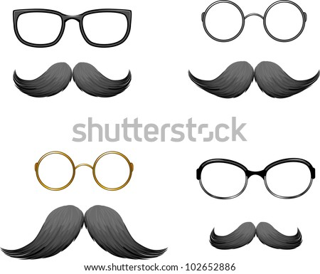 Set of funny masks (mustache and glasses) - stock vector