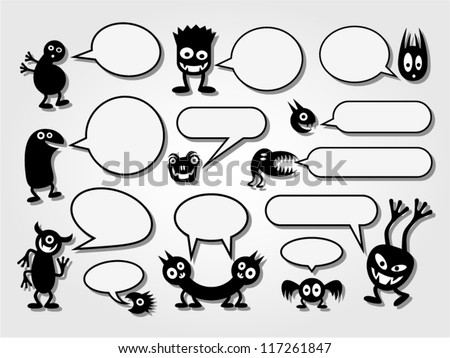Set of funny monsters and speech bubbles.
