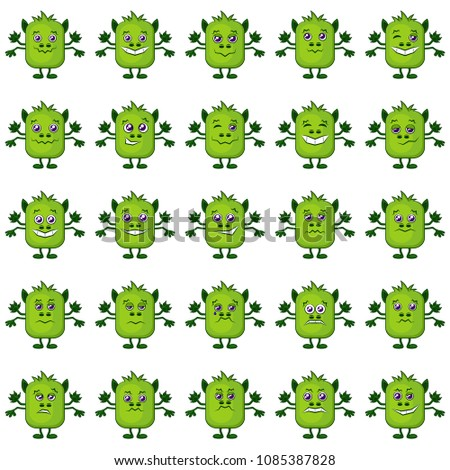 set of funny monsters smilies