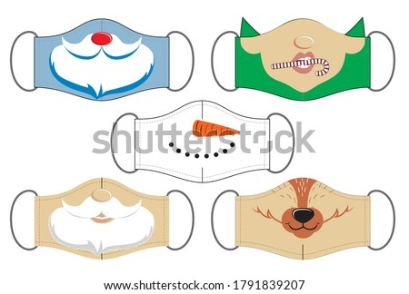 Set of funny reusable mouth masks of santa, elf, snowman and deer in vector. Design for Christmas.