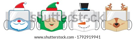 Set of funny reusable mouth masks with plastic safety glasse. Christmas design of santa, elf, snowman and deer in vector.