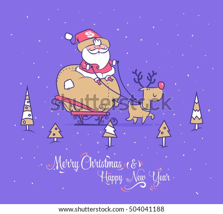 Set of Funny santa illustrations. Santa carries gifts to children on a sleigh with reindeer. Christmas greeting card background poster. Vector illustration. Merry christmas and Happy new year.