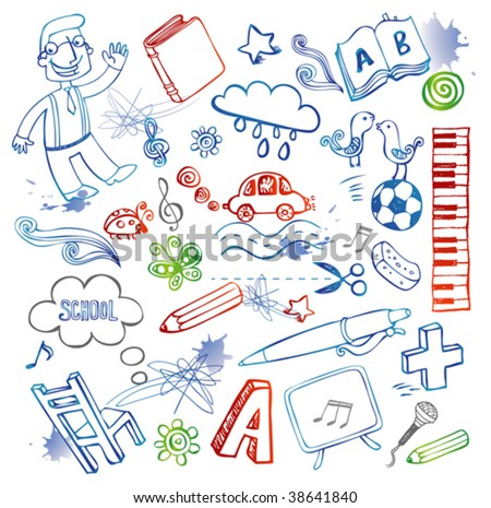 Set of funny school doodles - stock vector