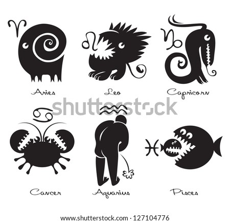 Set of funny signs of the zodiac