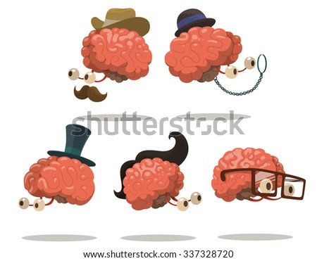 set of funny smart brains in