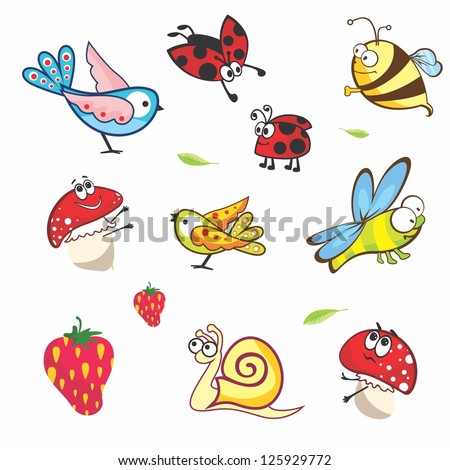 Set of funny spring animals for babies | Vector insects on white background