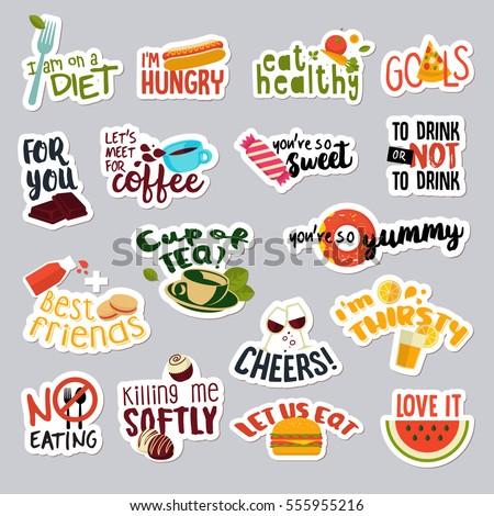 set of funny stickers for