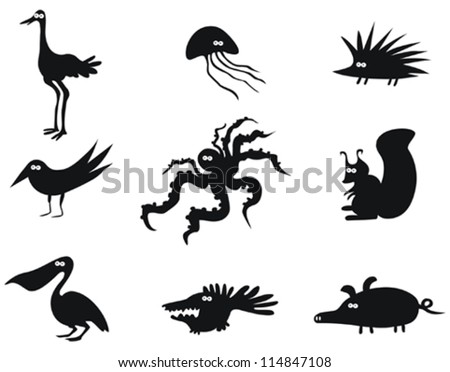 Set of Funny Vector Animals