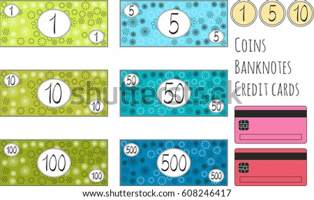 set of funny vector banknotes