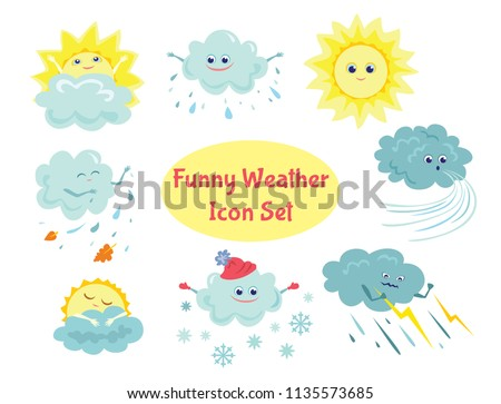 Set of funny vector weather icons in flat style. Sun, rain, storm, snow, wind. Cartoon and doodle characters. Simple stickers.