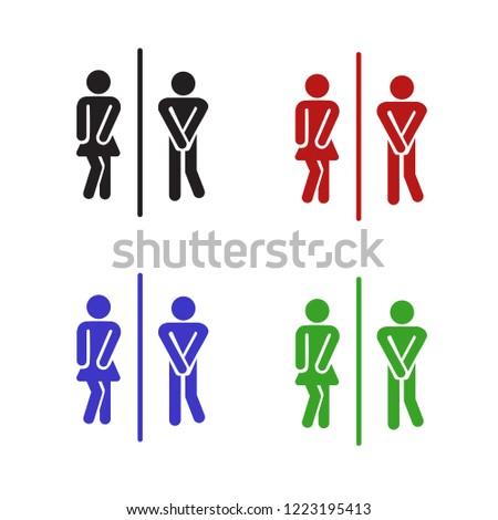 Set of funny wc door plate symbols. Vector black silhouette