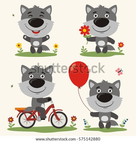 set of funny wolf play on