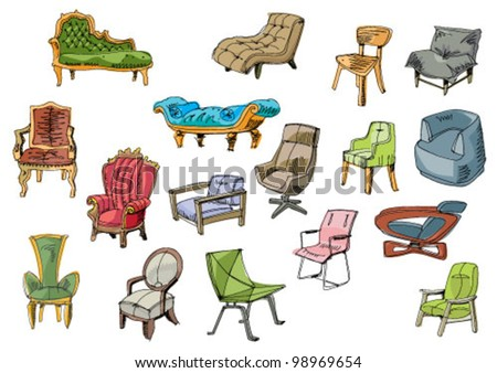set of furniture - cartoon