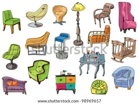 set of furniture - cartoon