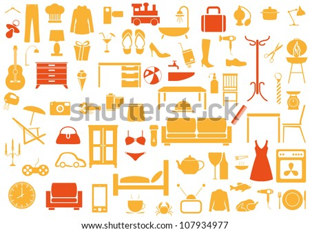 Set of furniture,fashion,kitchen,bath icons