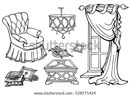 Set Of Furniture For A Cozy Room With A Chair And A Curtain, Vector Hand