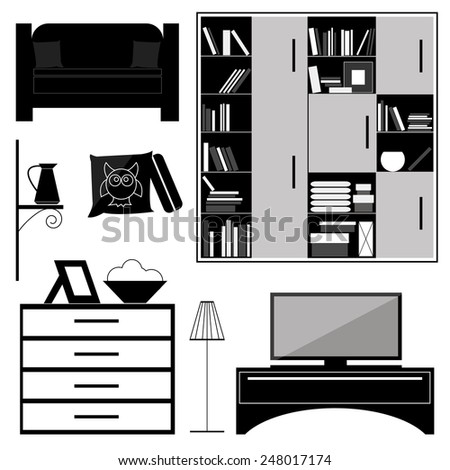 set of furniture for interior furnishing