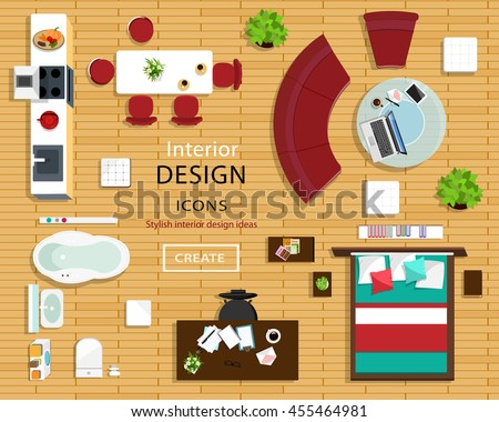 Set of furniture icons for room interiors. Top view of interior icons: sofa, chairs, table, bed, nightstands, armchairs, flowerpots, kitchen and bathroom. Flat style vector illustration.