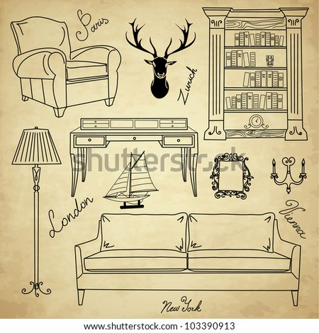Set of furniture icons, Living Room Furniture Home Interior Design