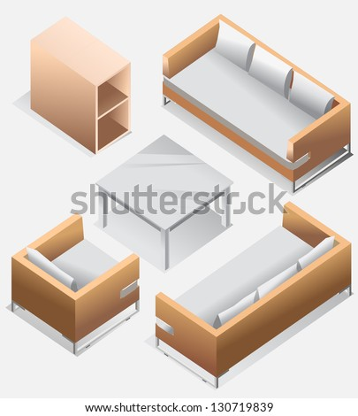set of furniture isometric detailed interior isometric series