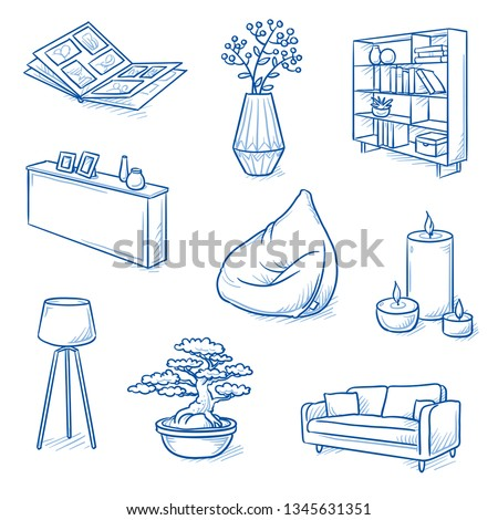 Set of furniture shop and decoration objects as lamp, sideboard, sofa, bean bag, bonsai, photo album and book shelf. Concept for modern interior. Hand drawn line art cartoon vector illustration.