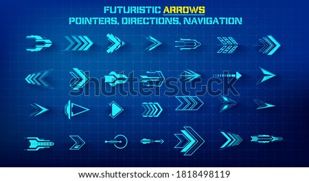 Set of futuristic arrows. Futuristic interface hud design elements. Arrows, pointers, direction. Set of holographic arrows, pointers, direction for infographics or game. Vector illustration