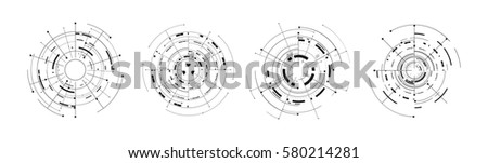 set of 4 futuristic circle tech digital concept icon isolated